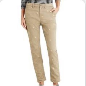 J Crew High Rise Slim Chino Tan Polka Dot Pants 26